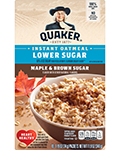 Quaker® Lower Sugar Instant Oatmeal - Maple and Brown Sugar